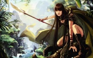 оружие, лес, девушка, охотница, рисунок, охота, арт