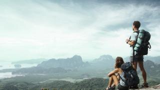 туризм, горы, парень, туристы, девушка, рюкзаки
