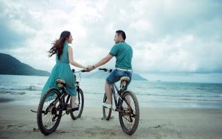 велосипеды, ПАРА, море, настроение