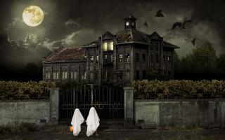 ночь, луна, привидения, дом