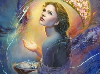 Christiane Vleugels, живопись, арт, девушка, лицо, взгляд, волосы, спина, рука, свет, лампочки