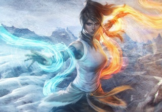 дівчина, арт, легенда про korra, аватар, стихія, вогонь, порядок, вода