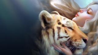 фэнтази, тигр, девушка, Любовь