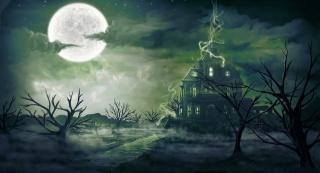 digitalinkrod, ніч, туман, магія, арт, будинок, місяць, краєвид