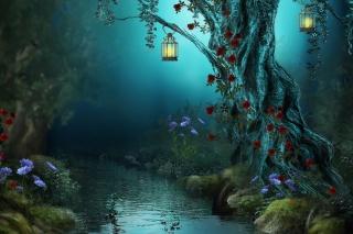 ніч, квіти, Фентезі, троянди, Червоні троянди, світильники, квіти, ліс, природа, ліс, річка