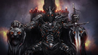 рогата, трон, Меч, шолом, лицар, темний, обладунки, свічки