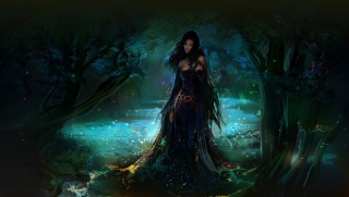 ліс, фентезі, арт, дівчина, краплі, вода