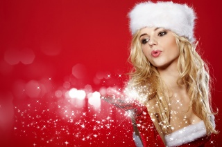 the snow maiden, blonde, girl, New year, brown-eyed