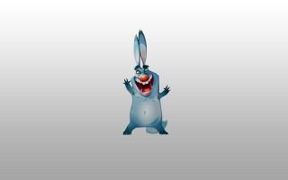 joyful, rabbit, hare, blue, rabbit