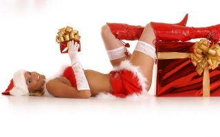 Beautiful, gifts, merry christas, red, santa, girl, boots