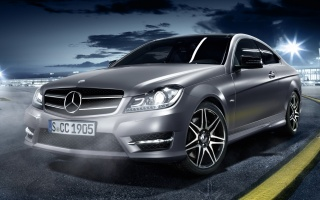 sport coupe, serebrisky, mercedes-benz, c250, Mercedes, Coupe, the front