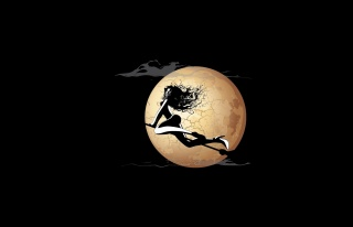 girl, broom, witch, the moon