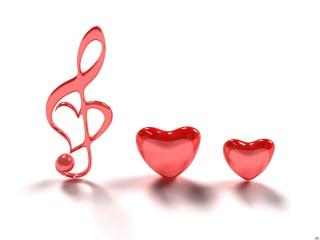 hearts, pink, music, minimalism, treble clef