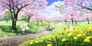пейзаж, сакура, арт, imaoka, мост, весна, речка, река, ручей