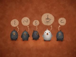 worms, birds, background, vladstudio, the white crow