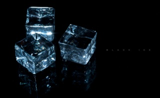 cubes, transparency, background, Three, on black, ice