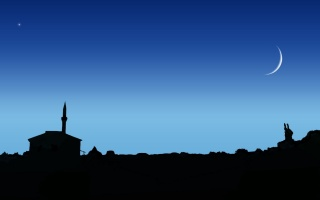 the mosque, star, the sky, night, the moon