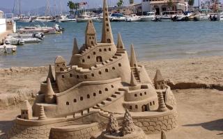 hrad, písek, léto, moře
