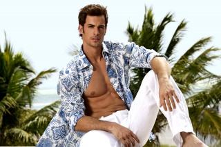 тело, парень, небо, пальмы, рубашка