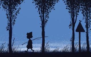 rod, boy, blue, grass, river