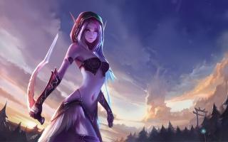 World of Warcraft, chenbo, elfí, art, dýky, uši, elf, les
