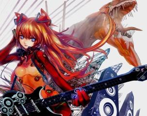 Anime, kytara, dráty, reproduktory, holka, dragon