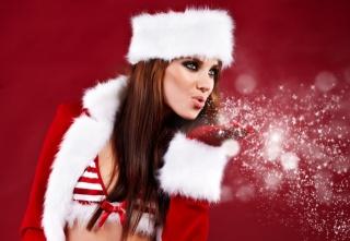 beautiful, New year, Rosebud, snowflakes, girl
