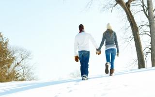lidé, PÁR, holka, chlap, zima, procházka, bílo, za ruce, варишки