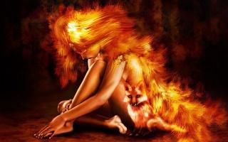 лисичка, дівчина, помаранчева гладь