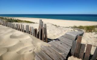 fence, track, sand, sea