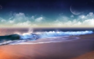 colors of summer, wave, foam, the moon