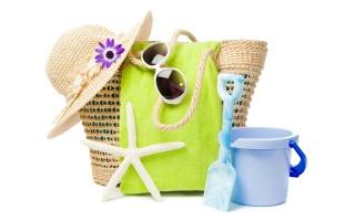 beach set, towel, glasses, handbag, hat