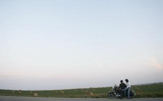 cesta, lidé, motocykl