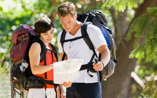 Hiking backpacks, people, route, map