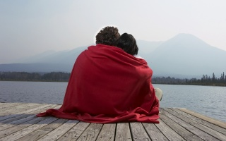 a wooden pier, red plaid, together, people, romance