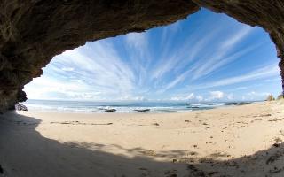 море, песок, берег, скала, вид, пещера