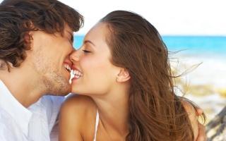 kiss, girl, guy, joy, smile