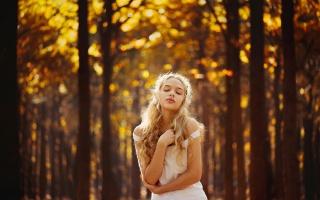 девушка, природа, поле