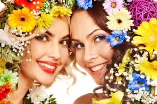 красивые, взгляд, улыбка, цветы