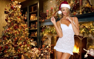girl, blonde, bathroom, holiday, New year, 2015, the situation, model, posing, fireplace, tree, decoration