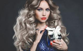 girl, blond, blonde, posing, gift, the dark background