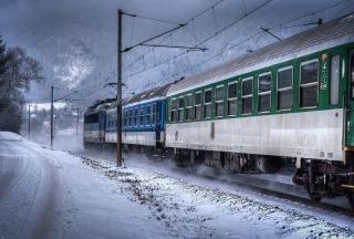 состав, поезд, электровоз, жд, дорога, природа, зима, горы, скорость, мощь