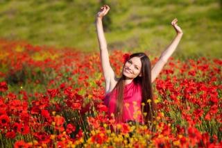 girl, flowers, Red, joy