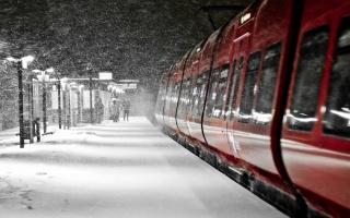жд, поезд, станция, зима, снег, красиво, погода, позитив