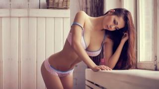 Helga Lovekaty, girl, linen, model, view, brunete, beauty, brunette, bathroom, girl, woman, chest, Tits, pose