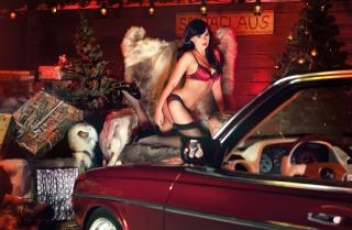 Авто, мерседес бенц, крісло, хутра, креатив, фото, Новий рік, подарунки, секси, брюнетка, позує