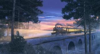 картина, арт, работа, лес, мост, жд, поезд, локомотив, паровоз, река, небо, вечер, звёзды, красиво