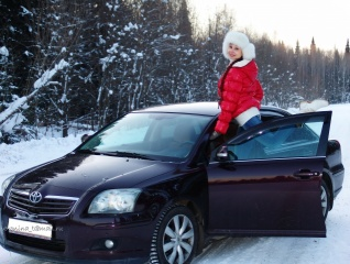 Car, girl, hat, winter, road, forest