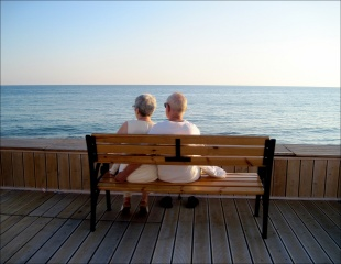 PAIR, older, shore, bench, the idyll