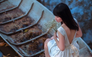 girl, pose, boat, flowers